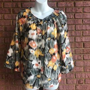 Rafaella Colorful Button Down Long Sleeve Blouse